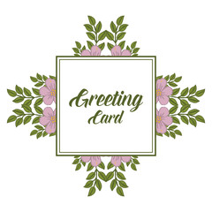 Vector illustration template of greeting card with pattern art floral frame