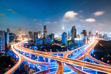 Foto auf Acrylglas Shanghai shanghai elevated road junction and interchange overpass at night