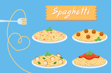 cute set spaghetti of love, Fork with noodle heart shape,  Flat cartoon vector illustration isolated on EPS10.