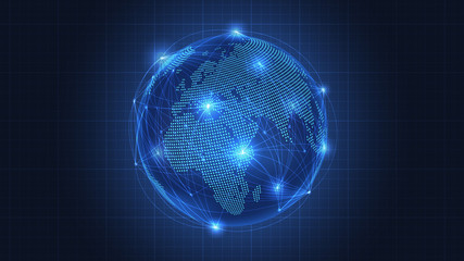 Business concept of Global network connection Wall mural
