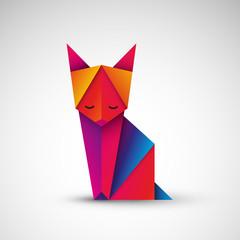 Obraz kot origami wektor - fototapety do salonu