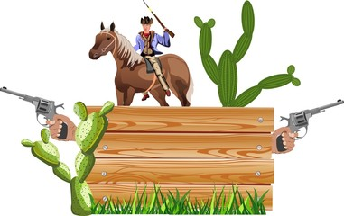 Wild west theme, cowboy with riffle, cactus,concept western vector illustration