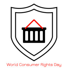 ConsumerRightsWorld Consumer Rights Day. Concept of the event. Simple logo, icon. Shopping cart and shield.
