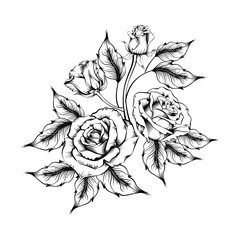 Rose tattoo. Silhouette of roses