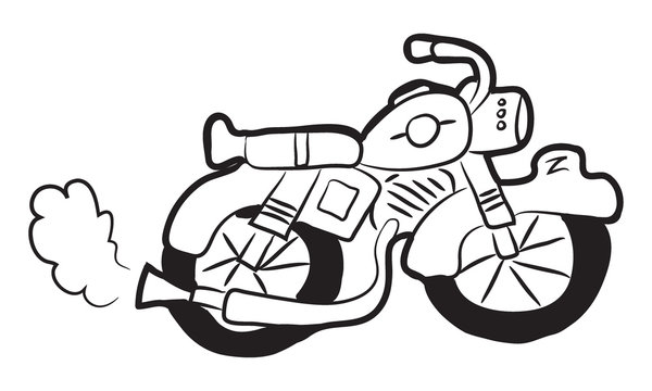 Cartoon doodle illustration of cute retro motorcycle or classic motorbike for coloring book, t-shirt print design, greeting card