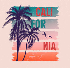 California, golden coast. Colorful poster with palm trees. T-shirt print with inscription, summer design for youth, teenagers.