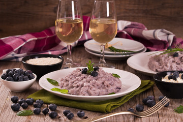 Blueberry risotto with mascarpone.