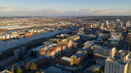 Aerial View Over Downtown Tacoma Washington Thea Foss Waterway