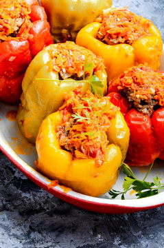 Stuffed peppers in a baked pot