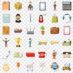 Businesswoman icons set. Cartoon style of 36 businesswoman vector icons for web for any design