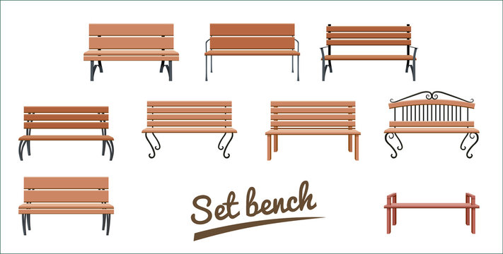 Outdoor wooden benches. isolated on white background. brown vector bench in flat style. Set Vector illustration.