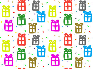 Gift box seamless pattern, Repeating design background