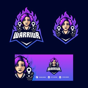 Warrior Girl Concept illustration vector template
