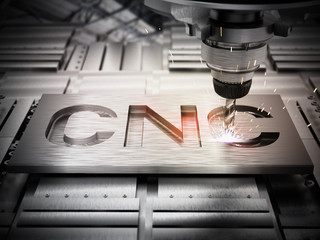 Closeup of generic CNC drill equipment. 3D illustration