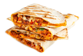 Chicken quesadillas with paprika, cheese and cilantro