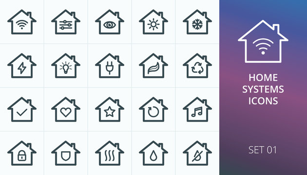 Smart home systems icons set. Set of smart house, wireless home systems, electrification, lighting, water supply, heating, cooling, safety vector icons
