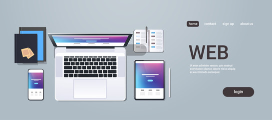 web technology network concept top angle view desktop laptop smartphone tablet screen networking office stuff horizontal copy space