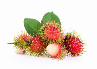 Wall Mural - Rambutan and Leaves on White Background