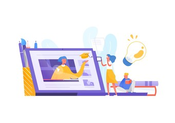 Tiny woman or female student standing in front of giant laptop and looking at screen. Distance learning, internet education and studying, online course or tutorial. Modern flat vector illustration.