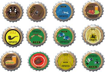 tappi di birra a corona con vari immagini simbolo