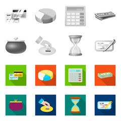 Vector illustration of bank and money icon. Collection of bank and bill stock vector illustration.
