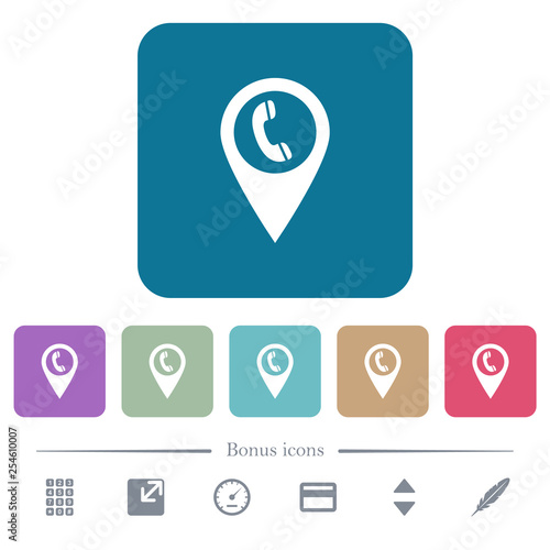 Call box GPS map location flat icons on color rounded square