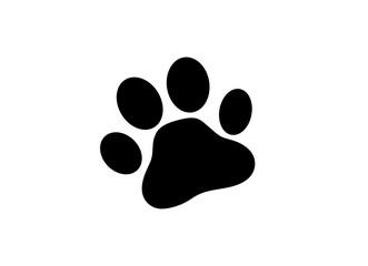Flat black pet (paw) icon. Vector illustration