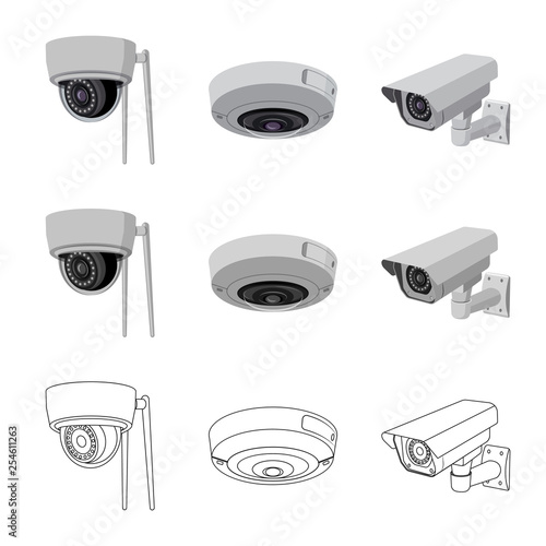 Vector design of cctv and camera icon  Collection of cctv