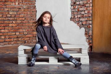 baf453da33d9 Little kid girl model posing fashionable in casual stylish clothes