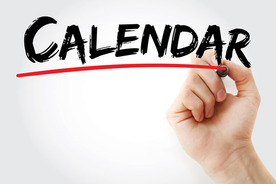 Calendar text with marker, concept background