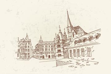 Wall Mural - Vector sketch of  street scene in  Antwerpen, Belgium.