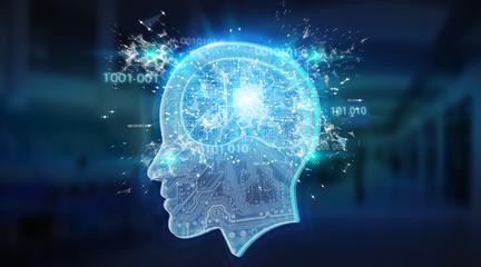 Artificial intelligence digital brain background 3D rendering