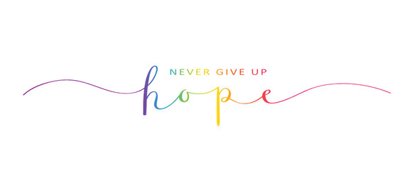 NEVER GIVE UP HOPE brush calligraphy banner Fotomurales