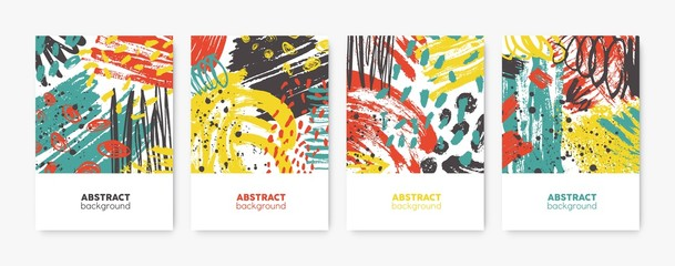 Collection of decorative card, flyer or poster templates with bright colored abstract stains, blots, brushstrokes, scribble, paint traces. Trendy vector illustration in contemporary art style.