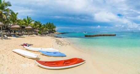 Wall Mural - Blue Bay, public beach at Mauritius island, Africa