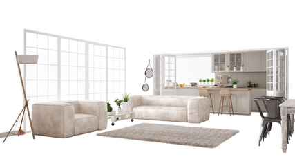 Scandinavian white living room with sofa and big window, interior design concept idea, isolated on white background with copy space, contemporary furniture idea Wall mural