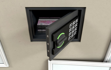 Open Wall Safe And Banknotes