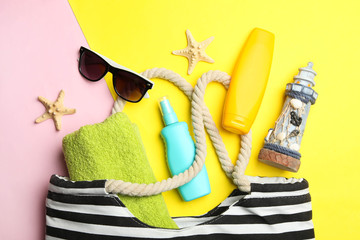 beach bag with different summer accessories