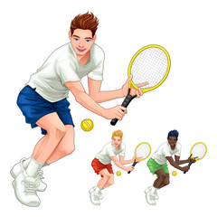 Papiers peints Chambre d enfant Three tennis players with different hair, skin and dress colors