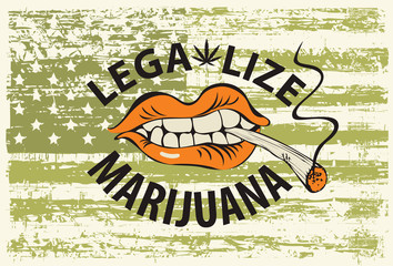Vector banner with words Legalize marijuana with a human mouth with a joint or a cigarette in his teeth on abstract background of american flag in grunge style. Smoking weed. Drug consumption