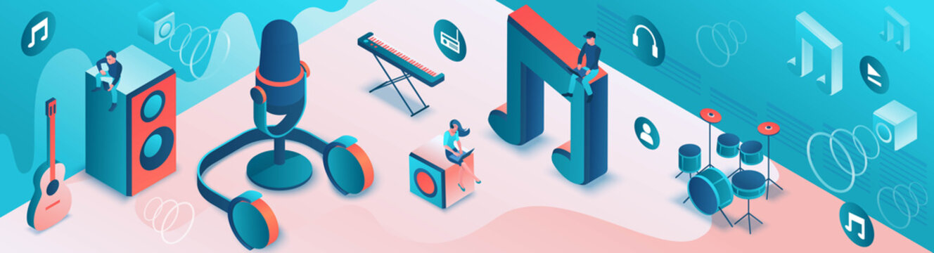 Modern music radio show or audio blog concept, podcast isometric 3d illustration, vector landing page template with people, microphone, sound studio interior
