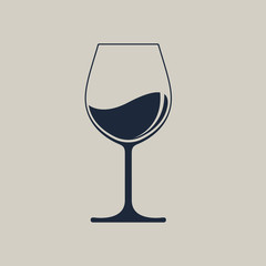 Wine glass icon with wine. Isolated sign glass of wine on light brown  background. Vector illustration.