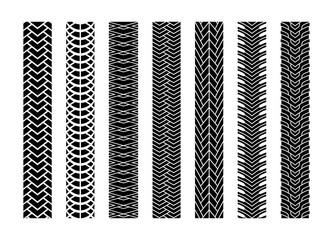 Black Tire Tracks Wheel Car or Transport Set on Road Texture Pattern for Automobile. Vector illustration of Track.