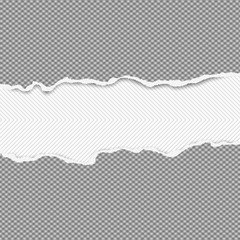 Torn squared dark grey horizontal paper strips are on lined background with space for text. Vector illustration