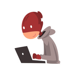 Hacker in Disguise Working on Laptop, Internet Crime, Computer Security Technology Cartoon Vector Illustration