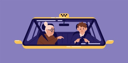Taxi driver and elderly woman sitting in front seat of cab and talking to him seen through windscreen. Old lady or granny using automobile service. Flat cartoon colorful vector illustration.