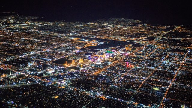 night view of Las Vegas city from airplane
