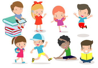 Set of diverse kids. Happy child character cartoon collection. activity in the kindergarten, reading books, playing, sport,education isolated on white background vector Illustration