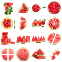 collection of fresh melon fruits