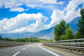 Amazing landscape with view on the European highway in the beautiful Alpine mountains